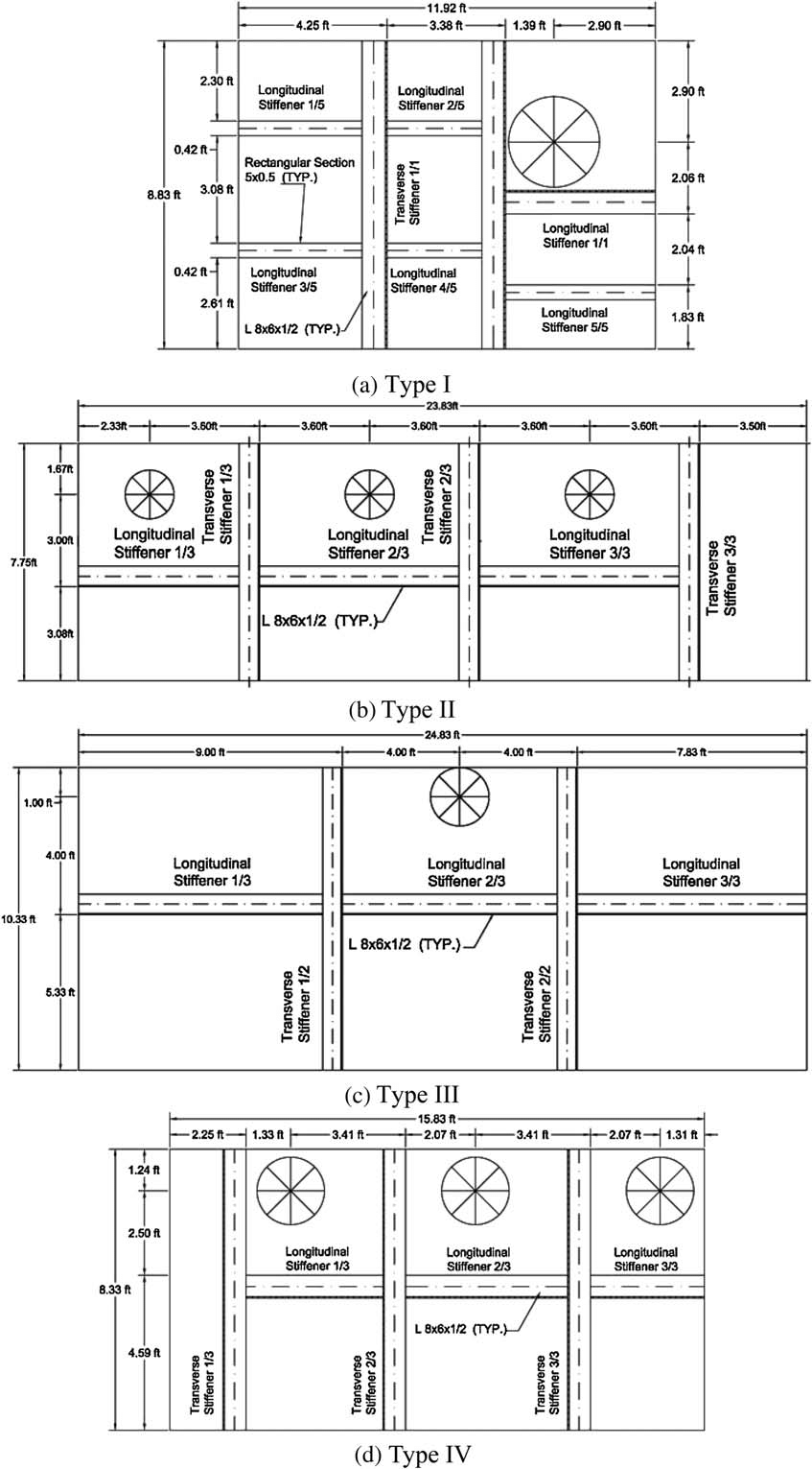 hight resolution of plan view of transformer bushing models showing the location of flexural stiffeners on the tank