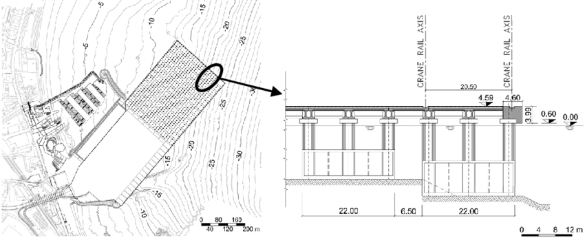 Plan view of platform and close up of the structure
