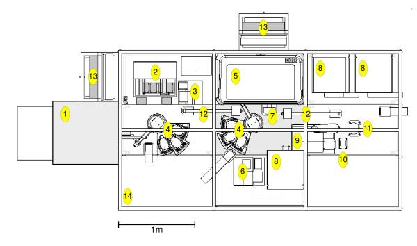 Plan diagram of Adam's laboratory robotic system. Layout