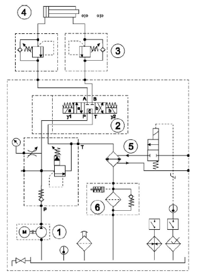 Laboratory hydraulic system (1) gear pump, (2) directional