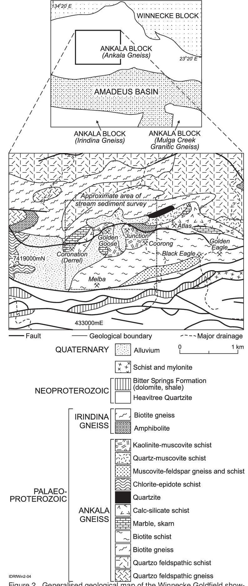 Location map of the Winneke Goldfi eld, MacDonnell Ranges