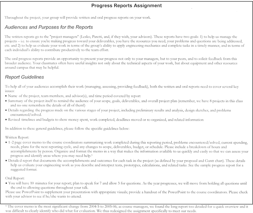 Sample Progress Report Assignment Download Scientific