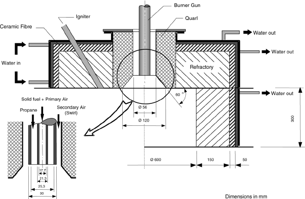 Schematic of the furnace roof and burner arrangement