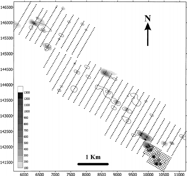 Plot showing geometry of the sampling grid and the spatial