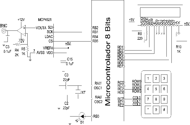Esquema eléctrico del circuito electrónico digital El