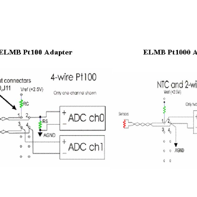 4wire pt100 and 2wire pt1000 elmb temperature adapter