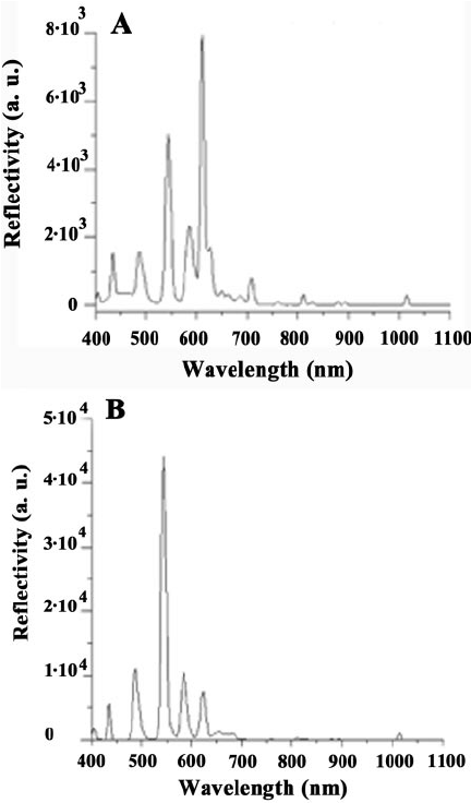 Spectral emission of the two fluorescent light sources