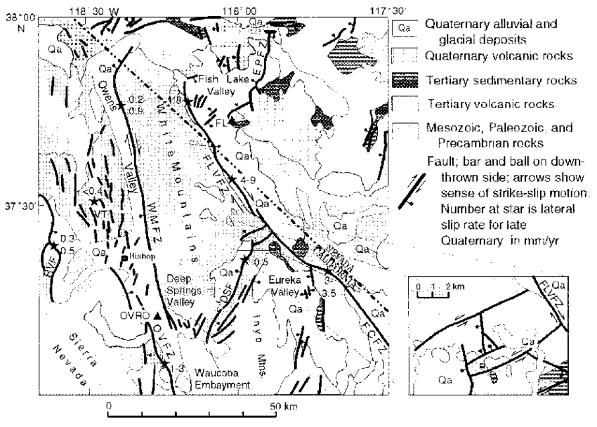 Geologic map of study area, showing Quaternary faults and