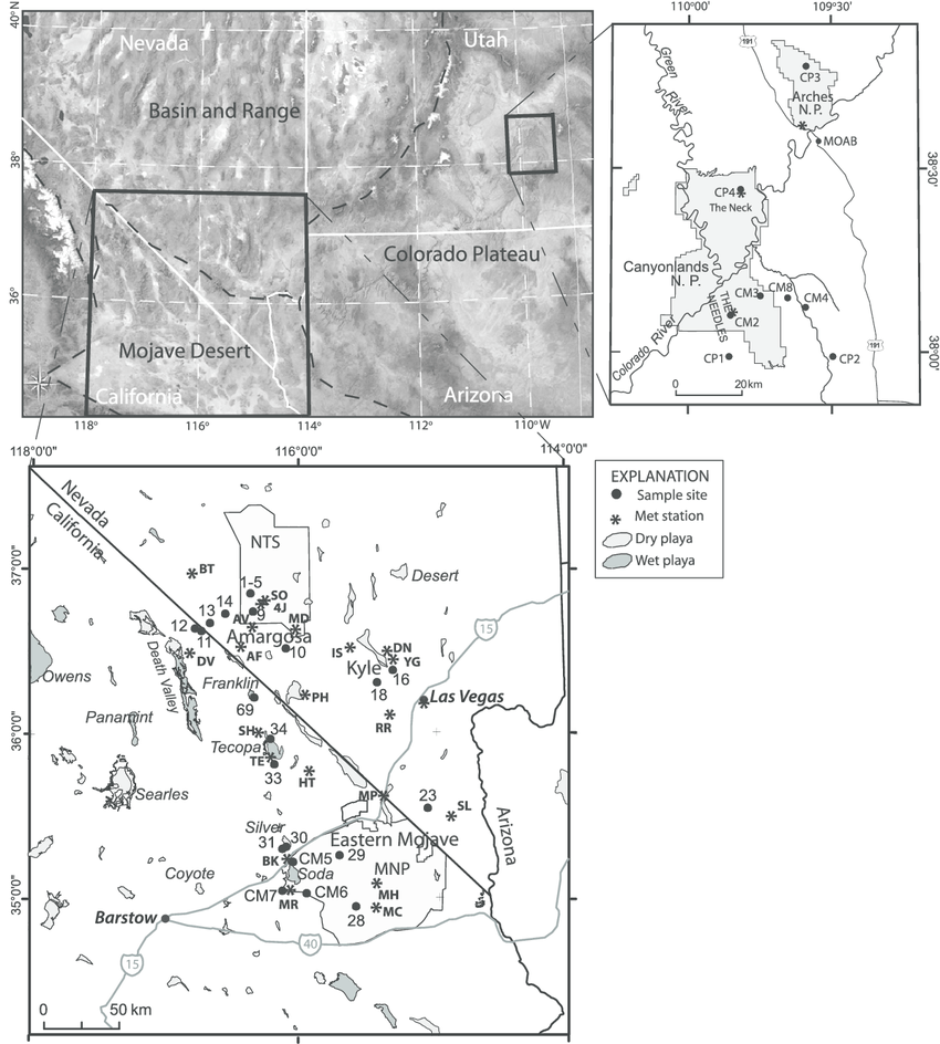 Location map of study sites in the southern Basin and