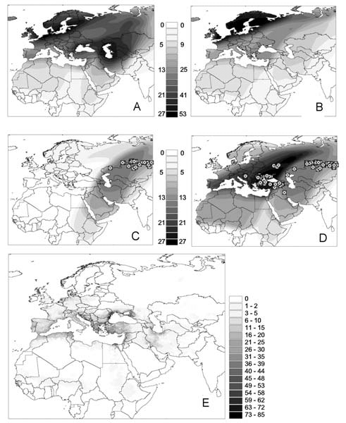 Distribution overlay of migratory flyways of Anatidae bird