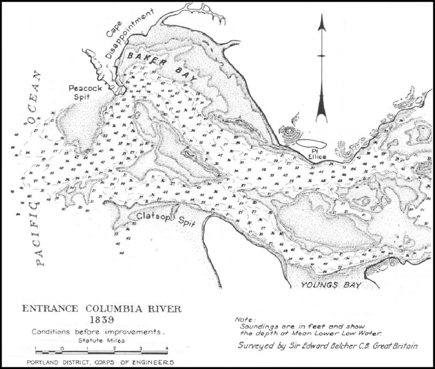 Map of the Columbia River entrance prepared by Vancouver