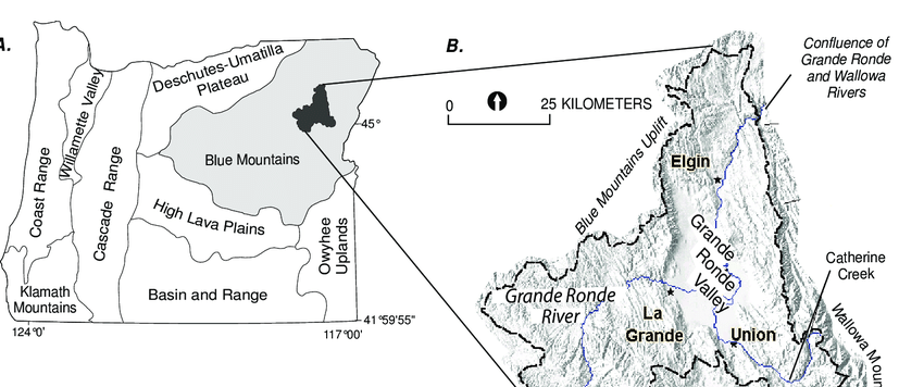 (A) Physiographic provinces of Oregon. Study area defined