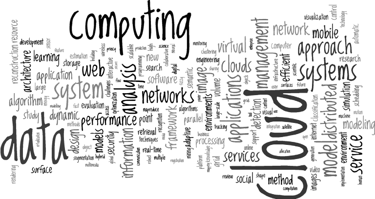 Cloud word cloud, summarizing 25,000 research papers on
