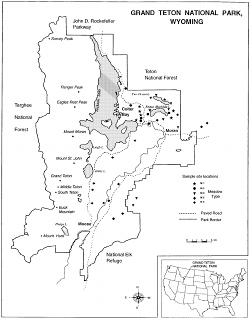 small resolution of map of study site locations in grand teton national park and bridger teton national forest