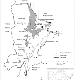 map of study site locations in and near grand teton national park wyoming  [ 850 x 1067 Pixel ]