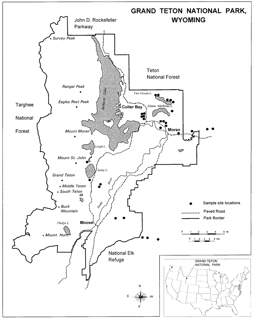 hight resolution of map of study site locations in and near grand teton national park wyoming