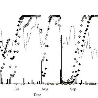 Relation between the sap flow (Q) of sessile oak seedlings