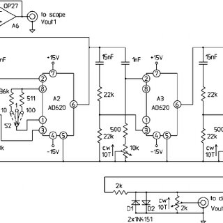 Electronics block diagram. In the upper part the