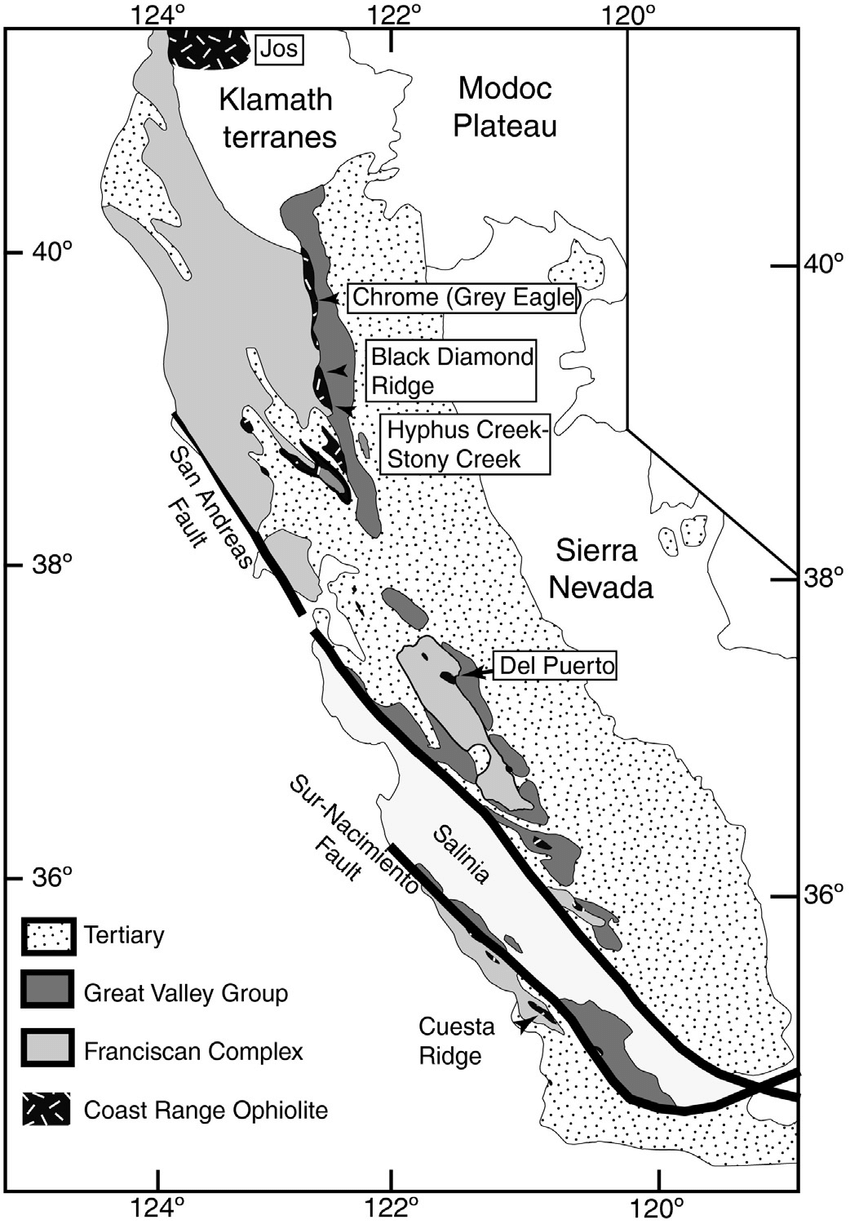 Geological sketch map of California and southern Oregon
