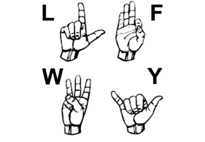 Four hand gestures taken from the American Sign Language