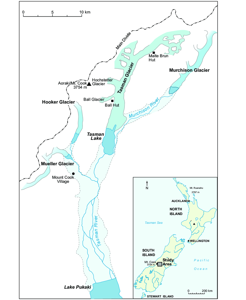 hight resolution of location map of the study area and tasman glacier