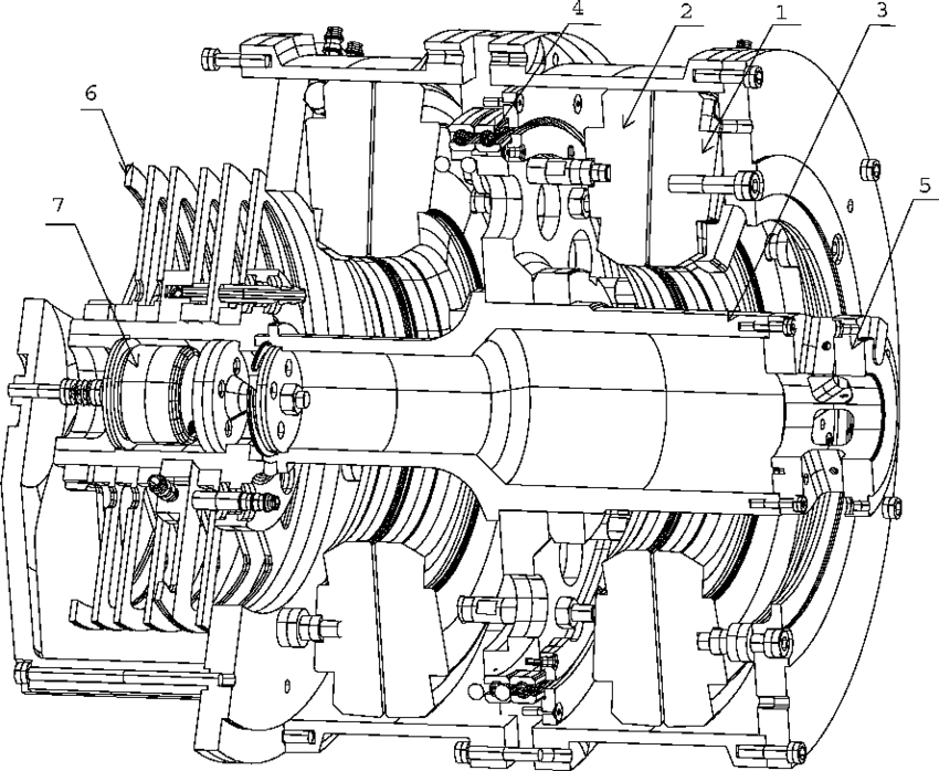 Cross section of the direct-drive motor. 1, Stator