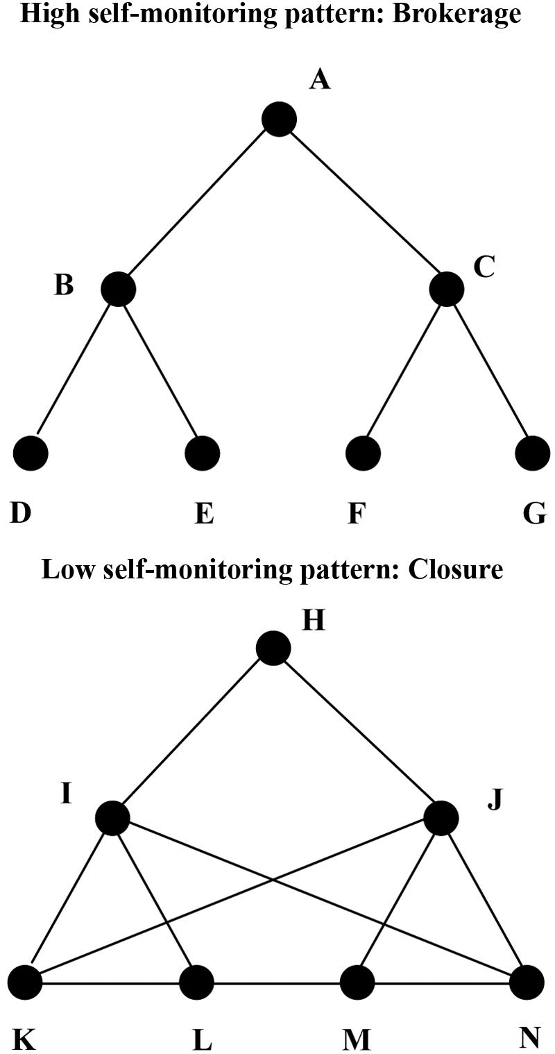 Expected patterns of indirect brokerage for high and low