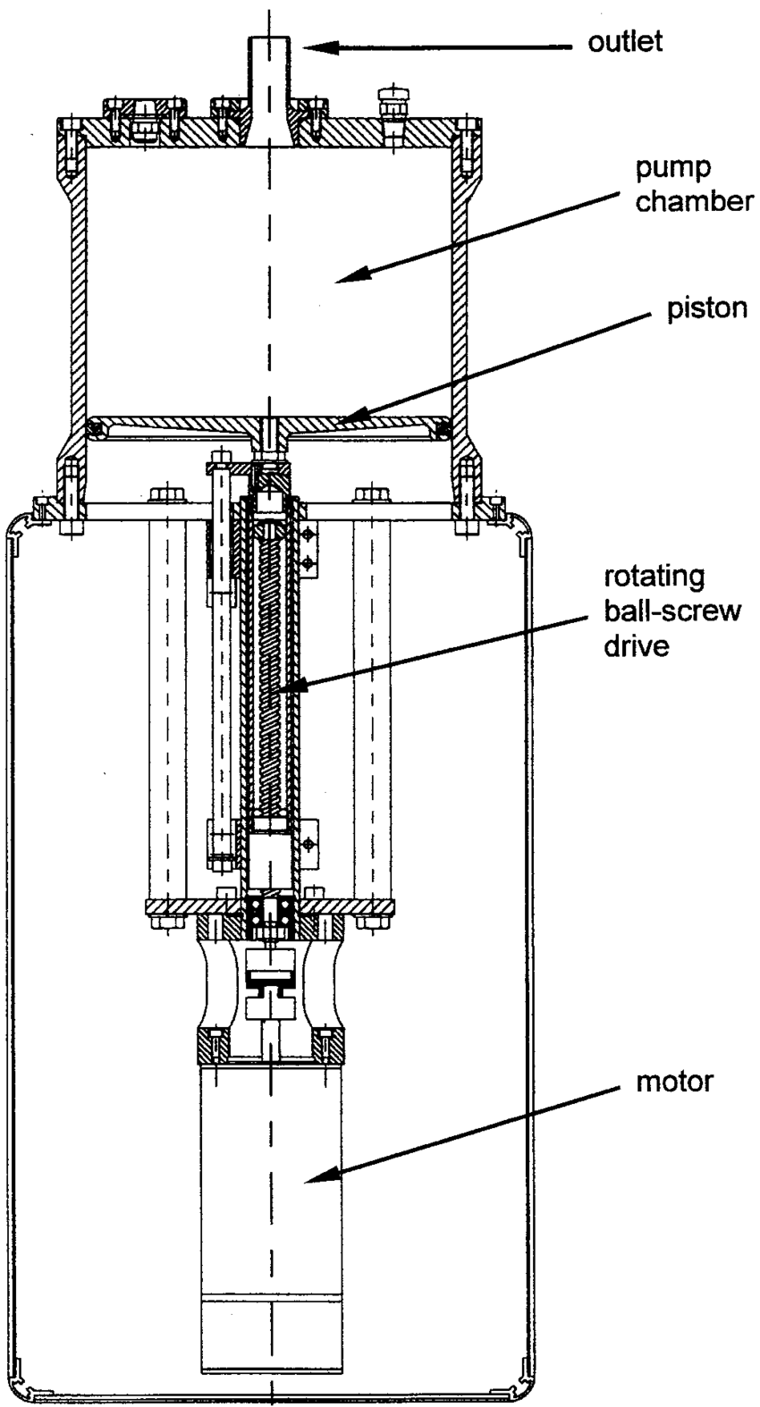 hight resolution of technical drawing of pump chamber piston drive and motor