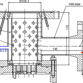 2 Detailed schematics of the lower plenum with fluid inlet