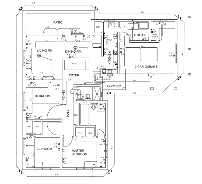 Typical electrical plan for a small one family house