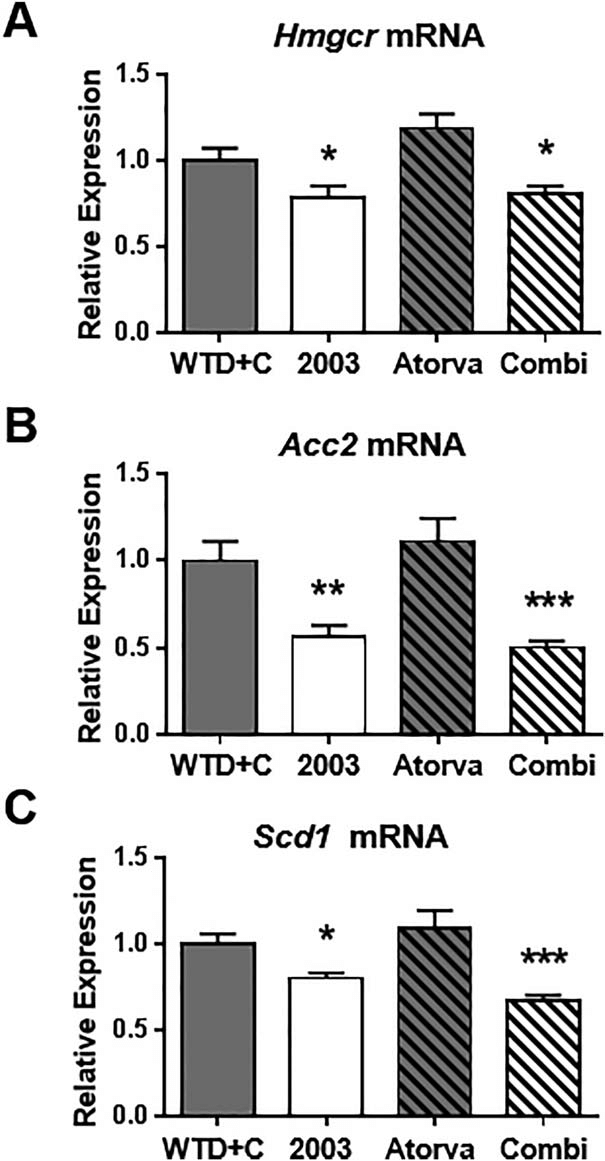 CAT-2003 reduces SREBP target gene expression in livers of