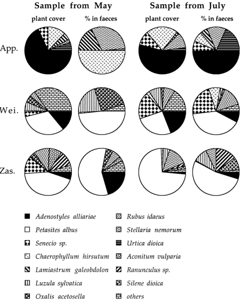 small resolution of plant mass availability and proportion of green plant parts in snail faeces in habitats which included