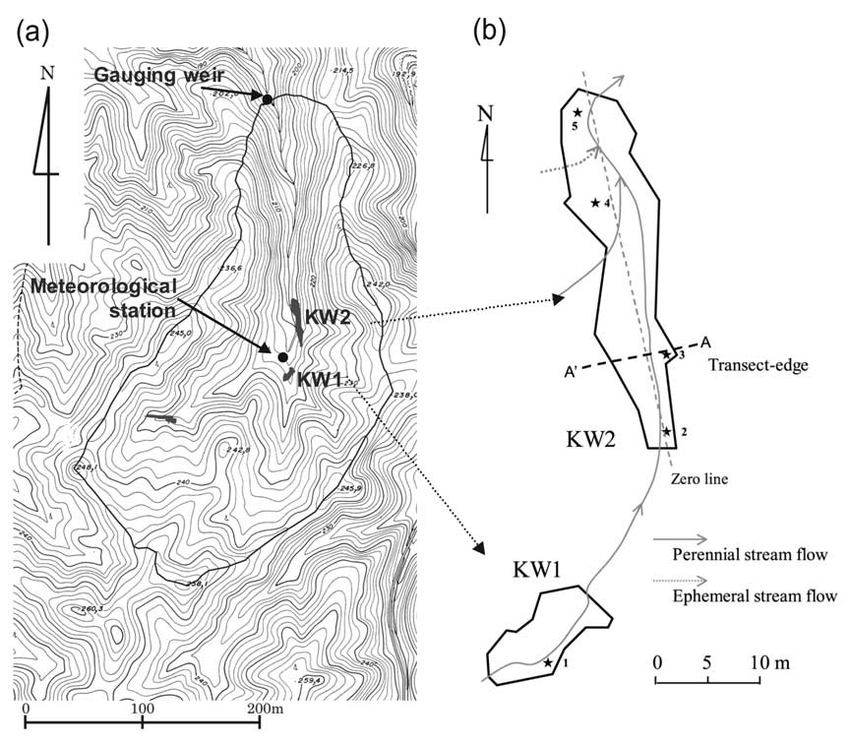 (a) Topographic map of the Kiryu Experimental Watershed