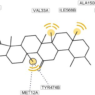 Molecular docking of compound 3 and its interaction with