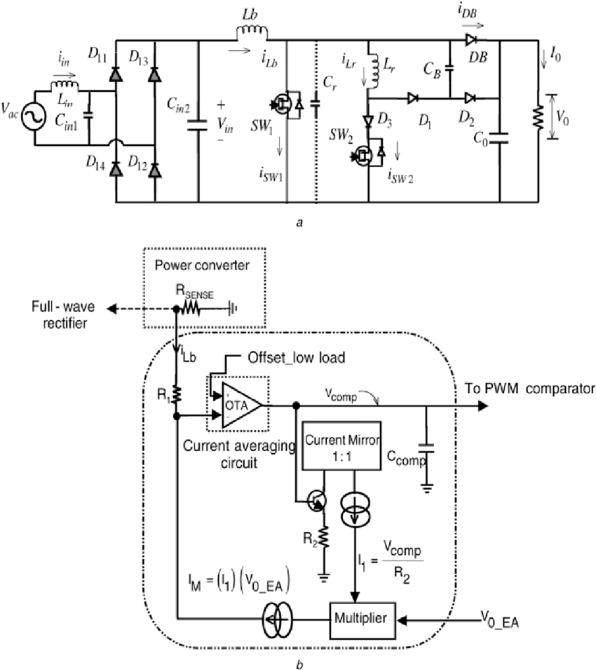 hight resolution of single phase module schematic and feedback current averaging block diagram of the proposed pfc converter