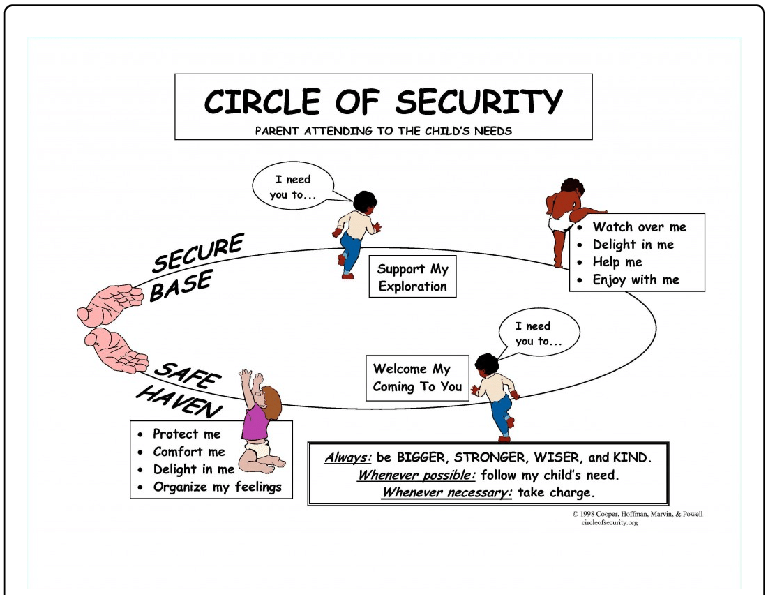 Circle of Security graphic with basic child's needs