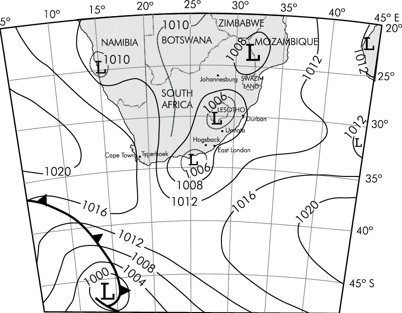 A synoptic pressure chart at mean sea level based on South