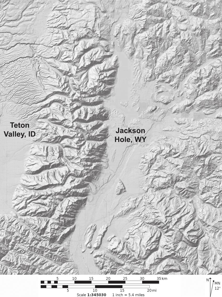 hight resolution of the teton range separated by jackson hole wyoming and teton valley idaho dem