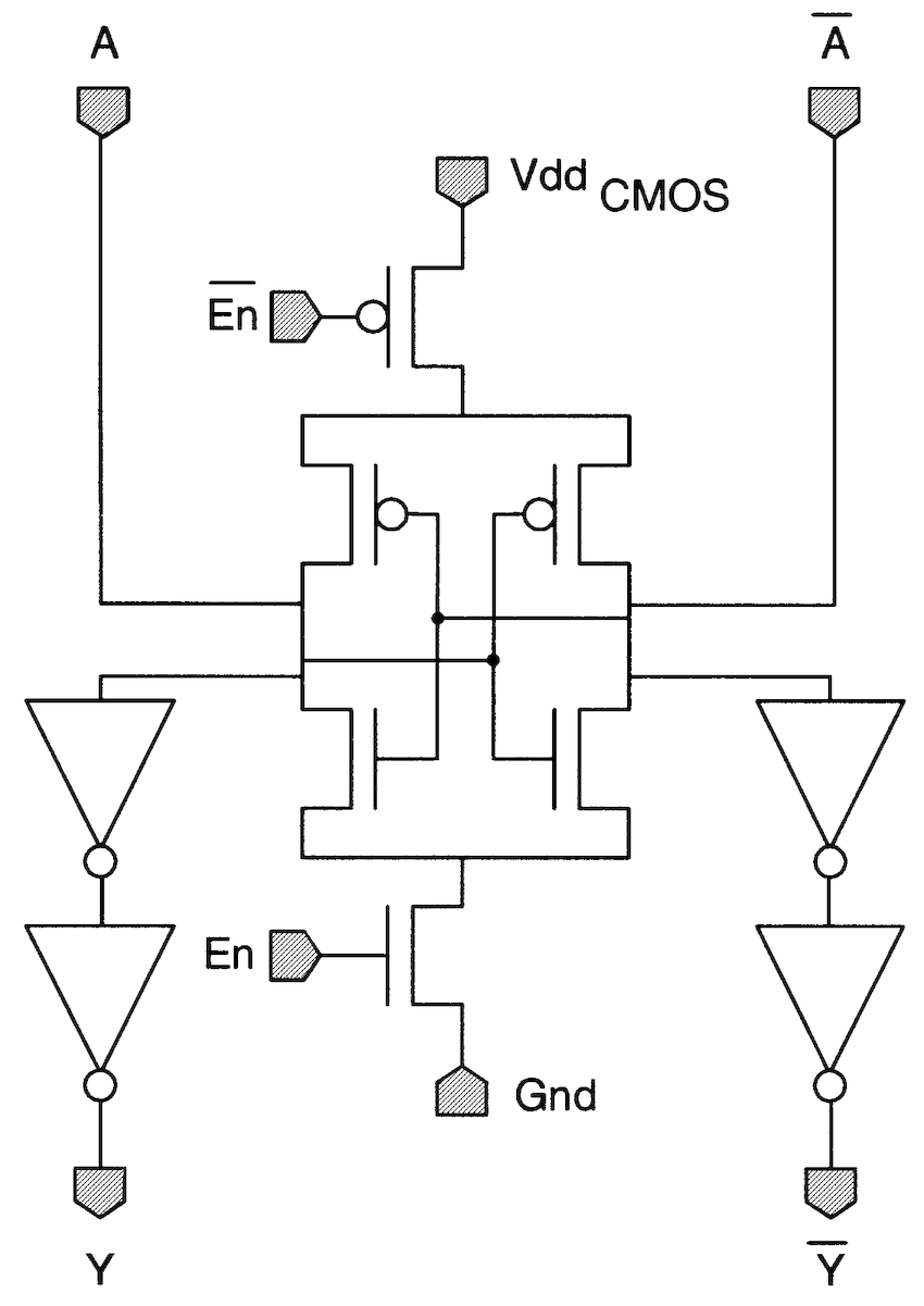 Standard CMOS circuits used for the CMOS interface. (a