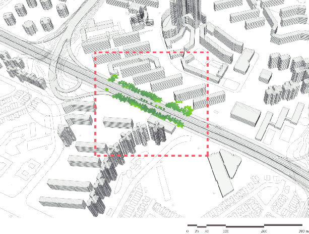 An axonometric diagram of the investigated urban area of