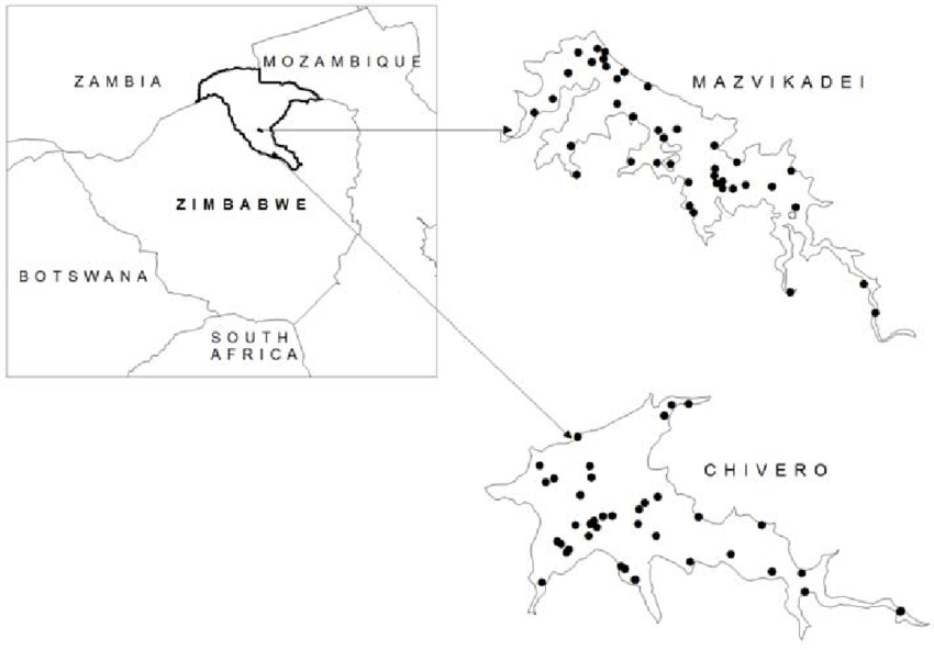 Map of lakes Chivero and Mazvikadei showing their location