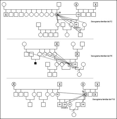 Genograma familiar de los informantes f2, f6, f10