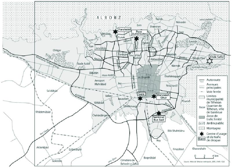 Map of Tehran's drug hotspots. Source: Ghiabi, 2018d