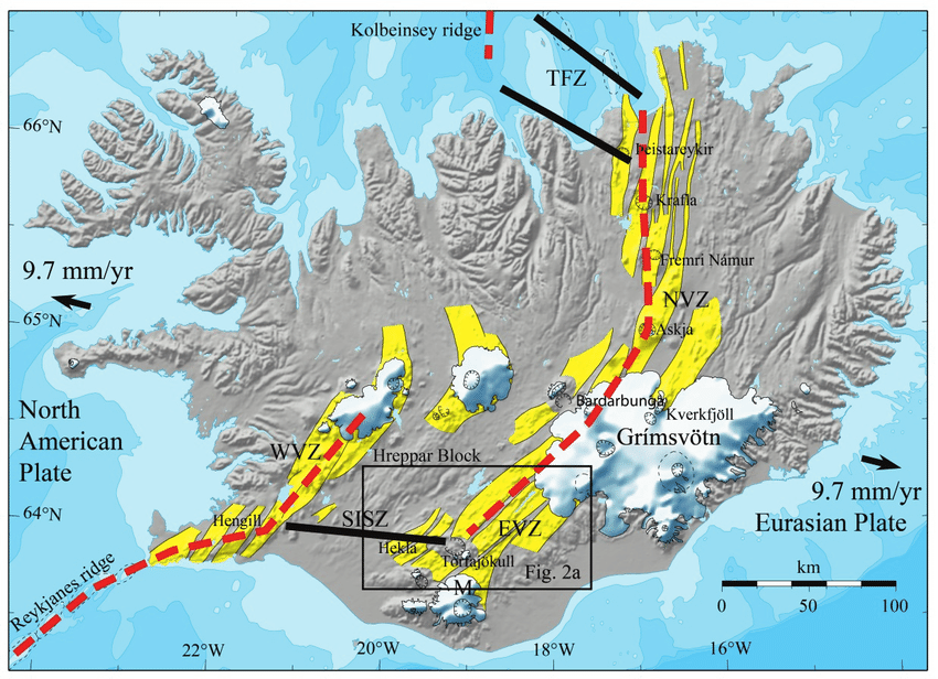 volcanic fracture diagram dodge wiring diagrams plate boundary in iceland. red dashes show approximate central axis of... | download scientific ...