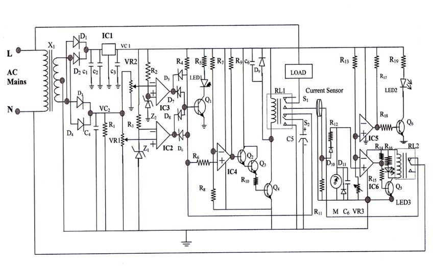Designed circuit diagram of single phase water-pump