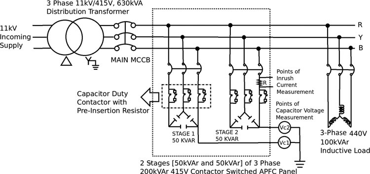 Schematic of the circuit and arrangement for the