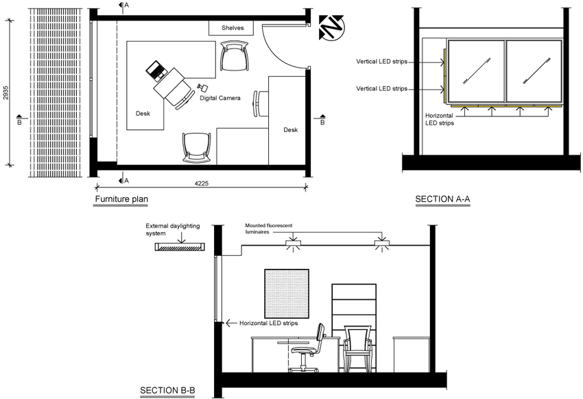 Plans and Sections of the test office room in Brisbane