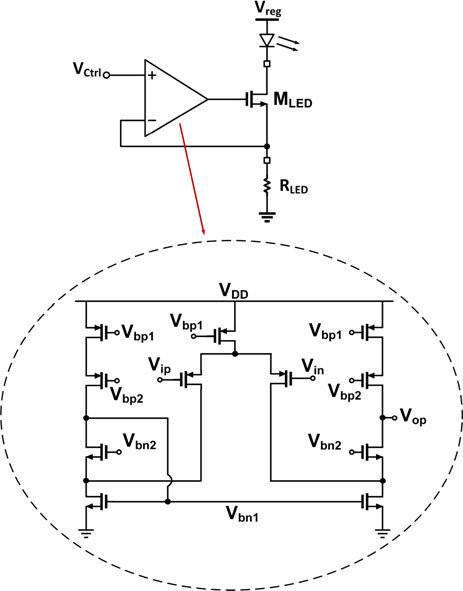 Schematic of the LED driver circuit. The current flowing