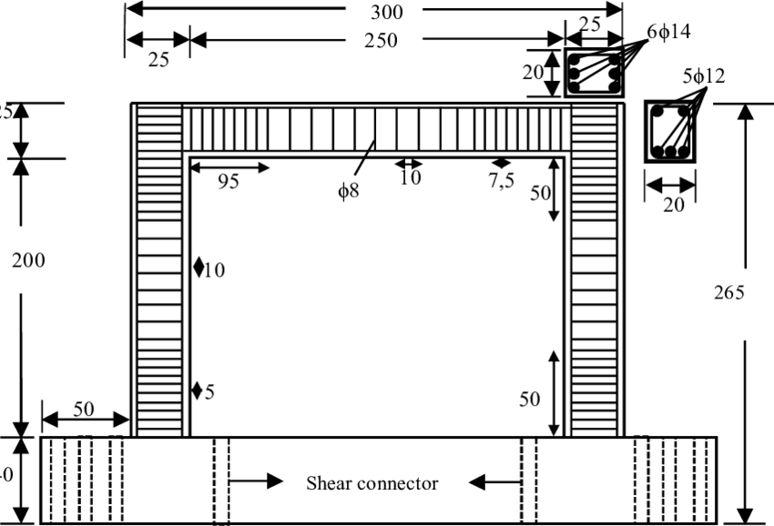 Dimensions and reinforcement details of the test specimens