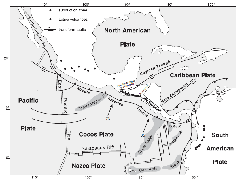 General Tectonic Map of Cocos and Caribbean Plates